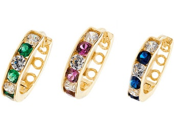 9ct Yellow Gold 10mm Channel Set Cz Hinged Hoop Earrings-Emerald-Sapphire-Ruby - Real 9K Gold