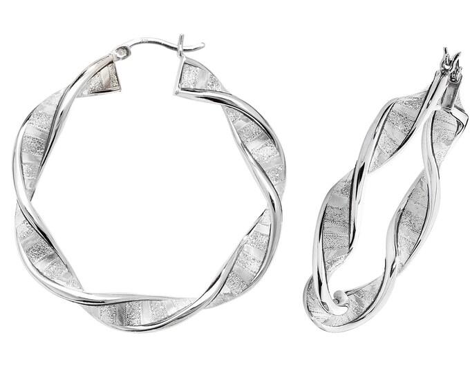 Twisted Stardust Hoop Earrings 925 Sterling Silver 30mm 40mm 50mm 60mm