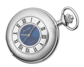 Burleigh Chrome Plated Half Hunter Roman Numeral Quartz Pocket Watch - Personalised Engraved Message