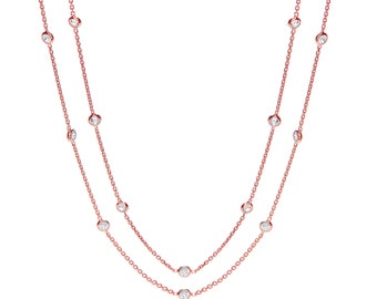 """925 Sterling Silver 23 Rubover Set Cz by the Yard 38"""" Long Necklace Rose-Gold-Silver"""