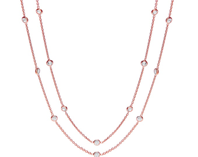 "925 Sterling Silver 23 Rubover Set Cz by the Yard 38"" Long Necklace Rose-Gold-Silver"