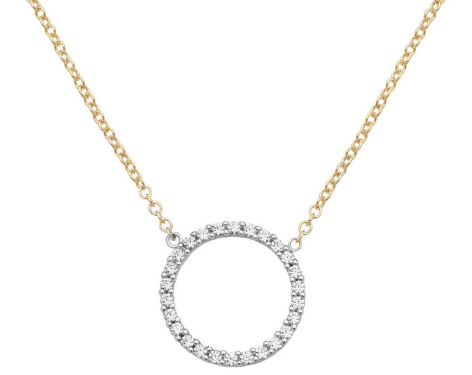 "9ct Yellow Gold 14mm Cz Circle of Life Pendant on 16""-18"" Necklace Hallmarked"
