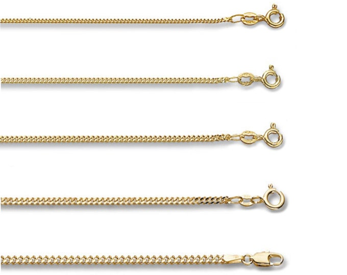 Close Curb Chains 9ct Yellow Gold Hallmarked -Choose the width-Choose the Length - Solid 9K Gold