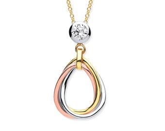 "9ct Tri Colour Gold Teardrop Links Pendant on 16""-18"" Necklace"