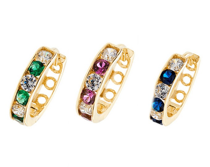 9ct Yellow Gold 10mm Channel Set Cz Hinged Hoop Earrings-Emerald-Sapphire-Ruby