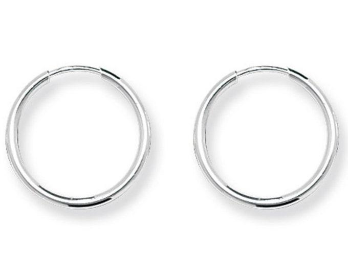 Pair of 10mm Diameter Sterling Silver 1.25mm Tube Threader Sleeper Hoop Earrings