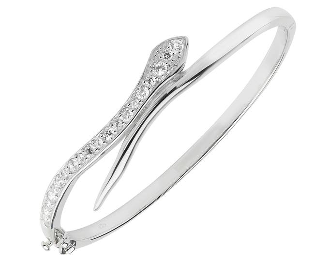 925 Sterling Silver Snake Bangle Pave Set With Cubic Zirconia Hallmarked