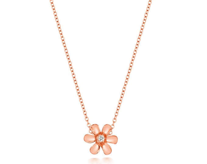 "9ct Gold 0.03ct Diamond Daisy Flower Pendant on 17"" Necklace"