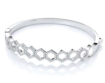 Ladies Micro Pave Claw Set Cz Honeycomb 925 Sterling Silver Hinged Bangle