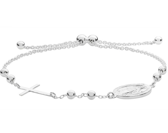 """925 Sterling Silver 7"""" Rosary Bead Toggle Bracelet With Cross & Miraculous Madonna"""