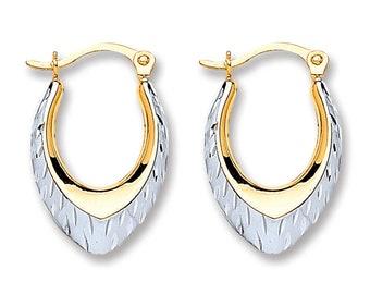 Small 9ct Bi Colour Gold 14x10mm Diamond Cut Oval Creole Hoop Earrings