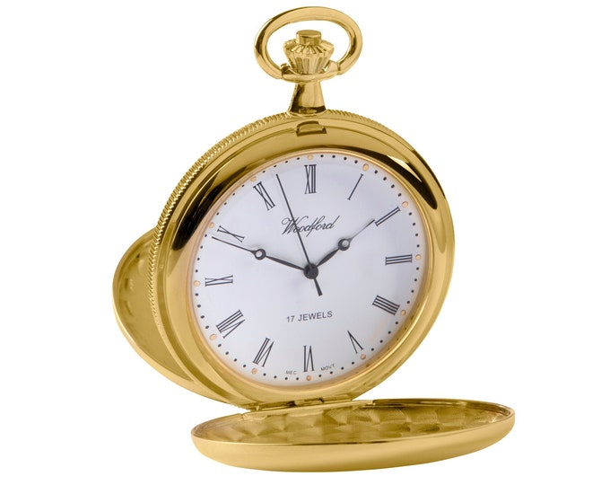 Woodford Gold Plated 17 Jewel Mechanical Full Hunter Pocket Watch - Personalised Engraved Message
