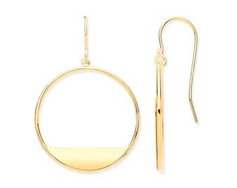 9ct Yellow Gold 20mm Diameter Open Circle Fish Hook Drop Earrings - Real 9K Gold