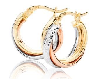 9ct Tri Colour Gold Crossover Diamond Cut Hoop Earrings 12mm 15mm 18mm