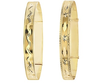 Ladies 9ct Yellow Gold 7.5mm Wide Expandable Bangle With Diamond Cut Pattern - Real 9K Gold