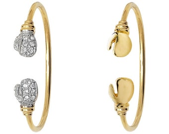 9ct Yellow Gold Babies Boxing Glove Torque Bangle Hallmarked - Plain or Stone Set - Real 9K Gold