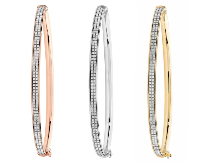 9ct Gold Sparkly Stardust Princess Eternity 3mm Bangle - Rose Yellow White Gold Hallmarked - Real 9K Gold