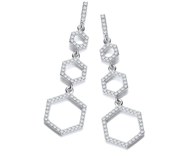 Micro Pave Cz Honeycomb 4cm Drop 925 Sterling Silver Earrings