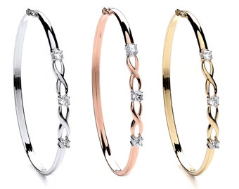 9ct Gold Twisted Infinity Cz Trilogy Bangle - Rose Yellow White Gold - Real 9K Gold