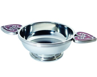 Heart of the Highlands 11.5cm Pewter Quaich Bowl Red Enamel Handles Personalised Engraved Message