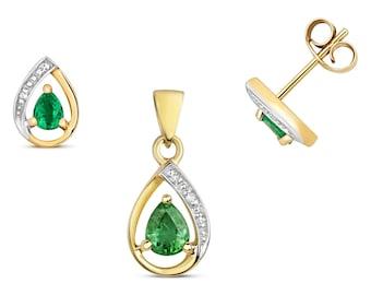 Pear Cut Green Emerald Diamond Pendant & Earrings Set 9K Yellow Gold - Real 9K Gold