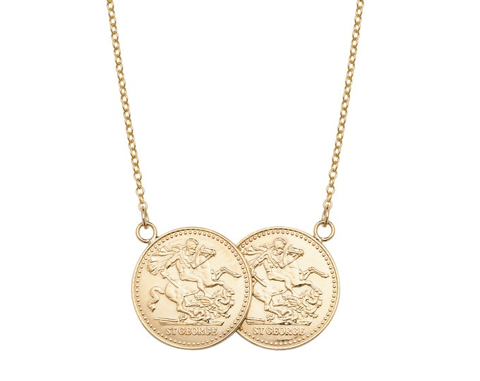 """Solid 9ct Gold St George Double Half Sovereign Coin 17"""" Necklace 6.5g"""