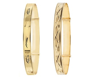 Ladies 9ct Yellow Gold 6.5mm Wide Expandable Bangle With Diamond Cut Pattern - Real 9K Gold