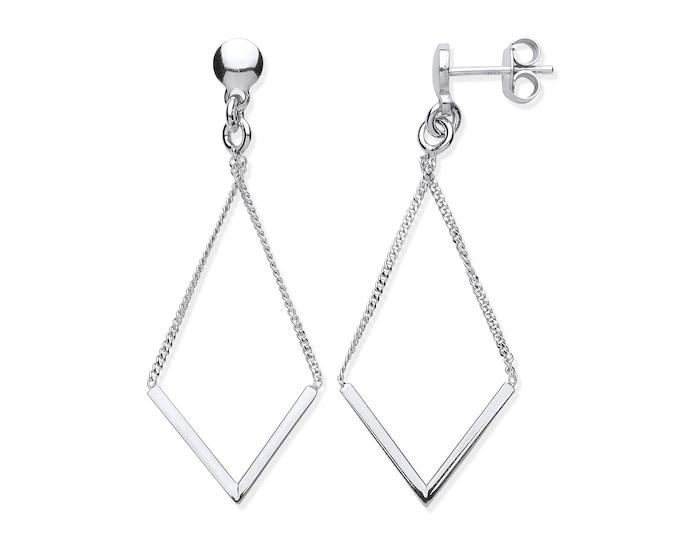 925 Sterling Silver V Shaped 5cm Long Chain Drop Earrings
