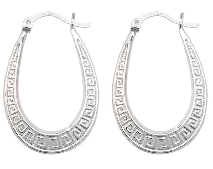 925 Sterling Silver 25x20mm Greek Key Design Hollow Oval Creole Hoop Earrings