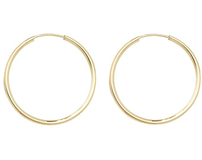 Pair of 9ct Yellow Gold 27mm Diameter Sleeper Hoop Earrings - Real 9K Gold