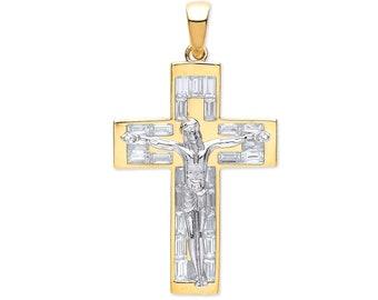 Contemporary 9ct 2 Colour Gold Baguette Cz 4cm Flat Crucifix Pendant