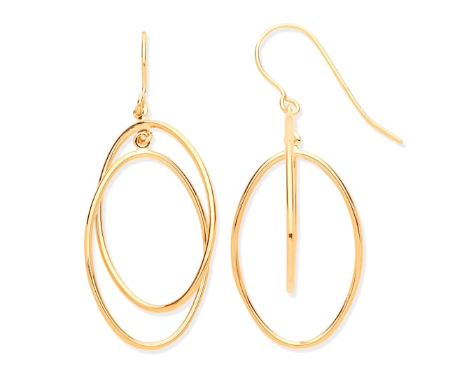 9ct Yellow Gold 3cm Double Oval Entwined Link Hook Drop Earrings