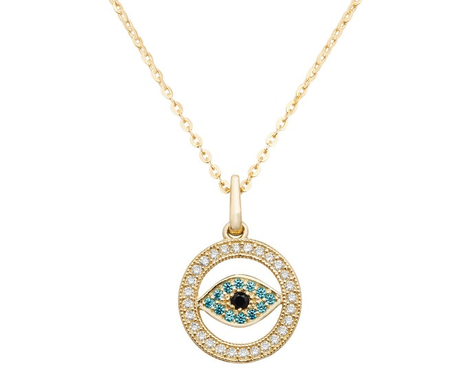9ct Yellow Gold Round 12mm Blue Cz Evil Eye Charm Pendant - Real 9K Gold