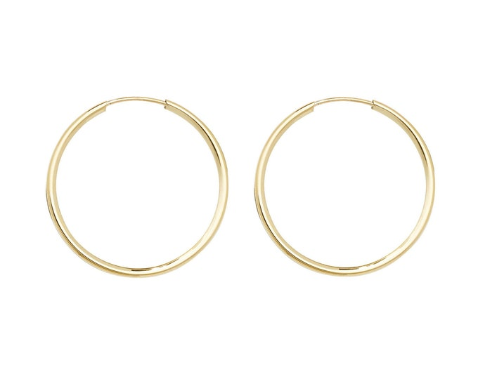 9ct Yellow Gold 14mm Diameter Sleeper Hoop Earrings