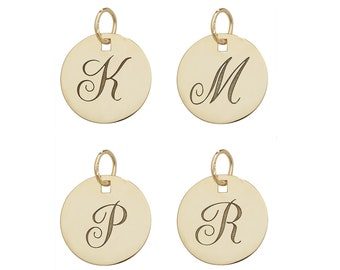 9ct Yellow Gold Engraved Initial 14mm Round Disc Pendant