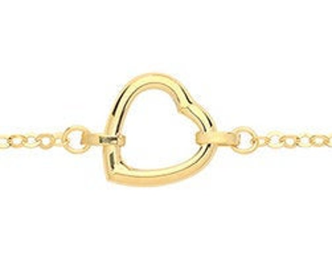"""9ct Yellow Gold Open Heart Charm Link 7.5"""" Rolo Chain Bracelet Hallmarked"""