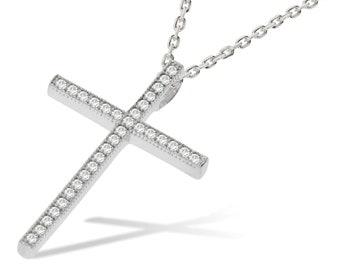 "Micro Pave Cz 3cm Slim Cross Pendant 925 Sterling Silver 16""-18"" Necklace"