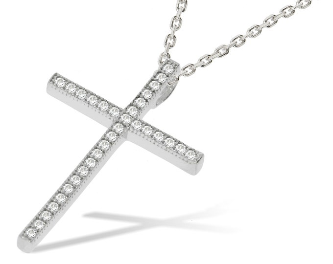 "Micro Pave Cz 3cm Slim Cross Pendant 925 Sterling Silver 16""-18"" Necklace"