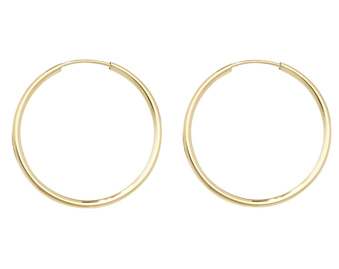 9ct Yellow Gold 18mm Diameter Sleeper Hoop Earrings - Real 9K Gold