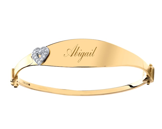 Child's 9ct Yellow Gold Cz Heart Oval Identity Bangle - Personalised Name or Initials