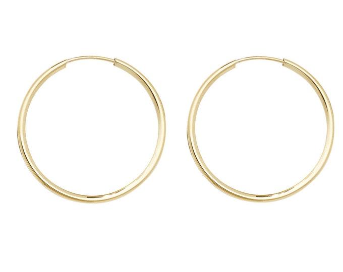 9ct Yellow Gold 22mm Diameter Sleeper Hoop Earrings
