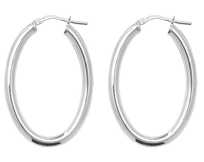 925 Sterling Silver 30x20mm Oval Polished Hoop Earrings