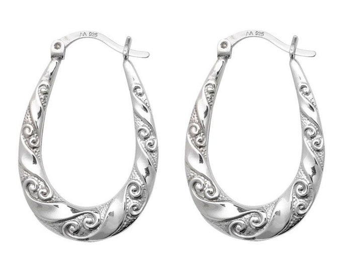 925 Sterling Silver Oval Swirl Embossed Creole Hoop Earrings 30x20mm