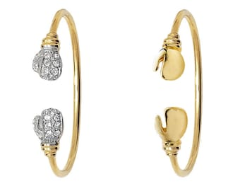9ct Yellow Gold Babies Boxing Glove Torque Bangle Hallmarked - Plain or Stone Set