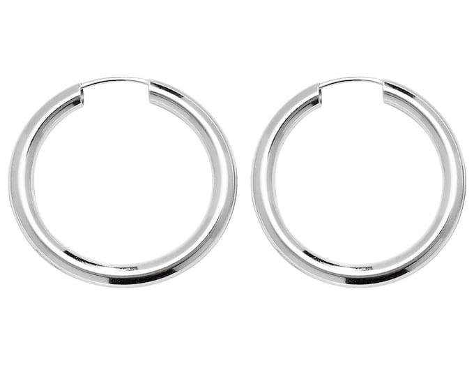 Pair of Sterling Silver 2.5mm Tube Threader Sleeper Hoop Earrings 18mm 20mm 25mm 30mm 40mm 50mm