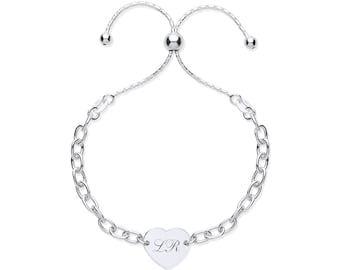 """Ladies 7"""" Sterling Silver Heart Tag Charm Friendship Toggle Bracelet Personalised Initials"""