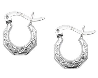 Sterling Silver 925 Baby 8mm Diamond Cut Creole Hoop Earrings