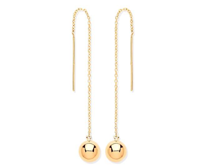 9ct Gold 6mm Ball & Chain Threader 9cm Long Drop Earrings