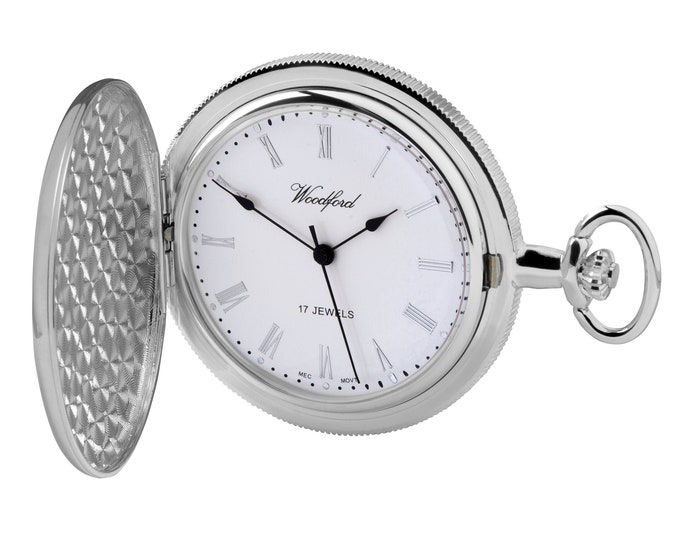 Woodford Chrome Plated 17 Jewel Mechanical Half Hunter Pocket Watch - Personalised Engraved Message