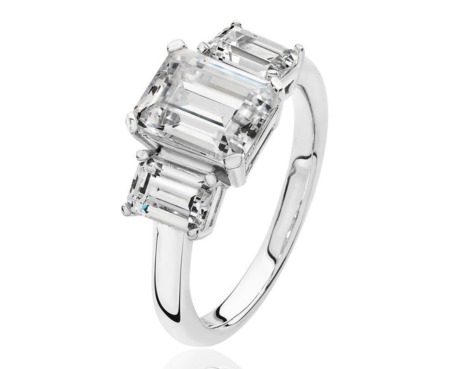 Rhodium Plated 925 Sterling Silver Claw Set Trilogy Emerald Cut Cz Engagement Ring